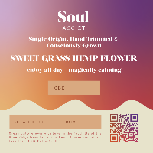 Sweet Grass Hemp Flower label